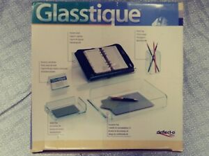 Deflect o Office Vintage Glasstique Desk Oganizer open Box new Sealed Containers