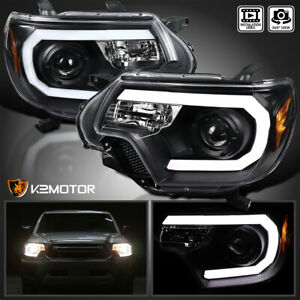 For 2012 2015 Toyota Tacoma Led Drl Bar Projector Headlights Black Left Right