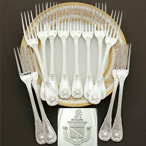 Puiforcat Antique French Sterling Silver Dinner Forks Set Armorial Coat Of Arms