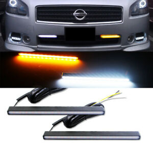 2pcs Slim Switchback White Amber Led Drl Daytime Running Lights Fog Lamps Kit