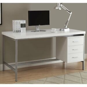 White And Silver Metal 60 inch Office Desk