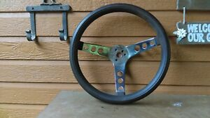 Vintage Ford Chevy Dodge Rat Rod 13 Inch Chrome Black Steering Wheel