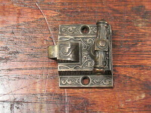 Vintage Antique Brass Victorian Eastlake Bolt Latch Lock Part
