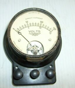 Vintage Jewell Dc Volts Tester Meter Pattern No 57 Self Enclosed Voltage Meter