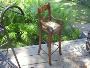 Antique Primitive Doll Chair Wood Curly Side Arms Really Nice