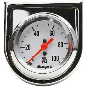 Sunpro Analog Styleline Mechanical Oil Pressure Gauge 2 Dia White Face Cp8206
