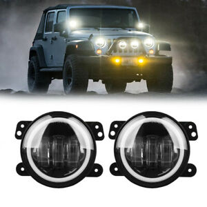 4 30w Led Fog Light W Halo Angel Ring Driving For 07 16 Jeep Wrangler Jk Cj Tj