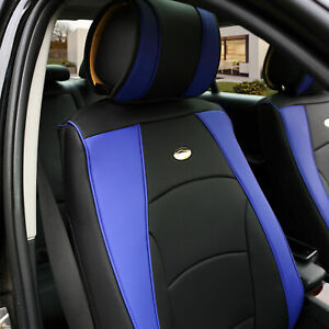 Car Suv Truck Pu Leather Seat Cushion Covers Front Bucket Seats Blue For Motors