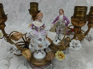 Pair Vintage French Figural Boudoir Lamps Porcelain Flowers Metal Leaves