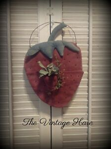 Primitive Strawberry Sweet Annie Small Strawberry Wall Decor Vintage Hare