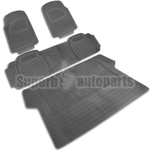 2 Front 1 Rear 1 Cargo All Weather Custom Heavy Duty Rubber Floor Mats 4pc Gray