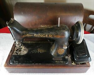Singer 99 13 Sewing Machine W Bentwood Wood Case Foot Pedal Power Cord