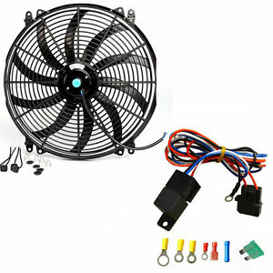 Asi 16 Universal 12v Slim Fan Push Pull Electric Radiator Cooling W Relay Kit