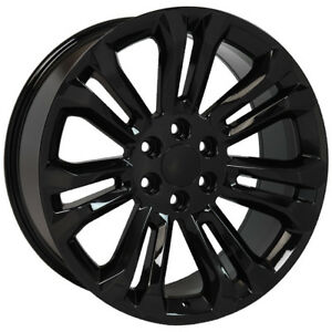 Gmc Gloss Black 22 Split Spoke Wheels Rims For 2000 2018 Sierra Yukon Denali