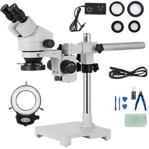 3 5x 90x Zoom Simul focal Trinocular Stereo Microscope Set Objective Barlow Lens