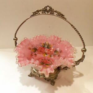 Brides Bowl Basket Pink Floral Silver Crest Ruffled Edge Stand