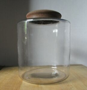 Antique 7 1 2 Glass Apothecary Tobacco Storage Jar Domed Tin Lid