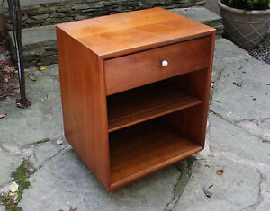 Mid Century Modern Walnut Nightstand By Drexel Declaration