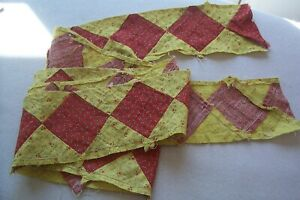 Vtg Antique Cotton Fabric Strip Quilt Dress Turkey Red And Chrome Yellow