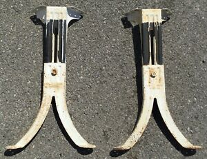 Vtg Antique Industrial Adjustable Table Base Leg Kenney Bro Wolkin No 1 2 Pair