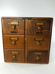 Antique Library Bureau Sole Makers 6 Drawer Card Cabinet