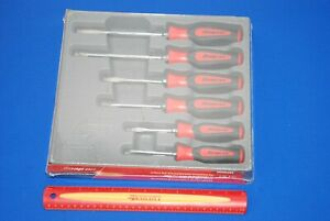 New Snap on 6 piece Red Instinct Soft Grip Screwdriver Set Sgdx60br Ships Free