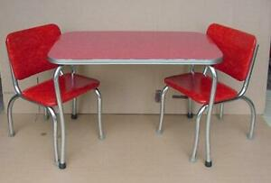 Vintage 1950 S Childs Kids Formica Table And Chairs Red Collectible