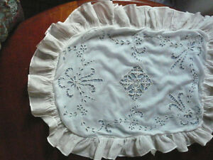 Beautiful Antique French Lace Embroidery Boudoir Pillow Sham