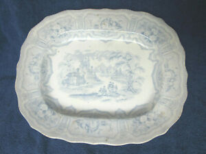 Antique Blue And White Transferware Platter Verreville Syria Pattern Circa 1850