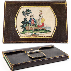 Antique Victorian Era Wallet Notebook Needlework Embroidery Panel In Leather