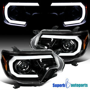 For 2012 2015 Toyota Tacoma Shiny Black Led Drl Projector Headlights Lamps Pair