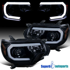 For 2012 2015 Toyota Tacoma Glossy Black Smoke Led Drl Projector Headlights Pair