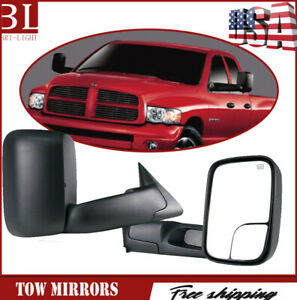 Pair L r Power heated Tow Mirrors Fit For 1998 2001 Dodge Ram 1500 2500 3500