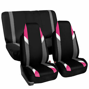 Highback Universal Seat Cover Full Set For Auto Suv Car Van Pink Black