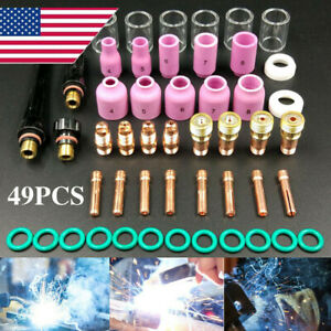 49 Pcs set Tig Welding Torch Stubby Gas Lens Pyrex Glass Cup For Wp 17 18 26