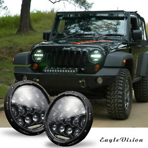 Round 300w Total Car Led Headlights Hi lo 97 18 For Jeep Jk Tj Lj Wrangler 7inch