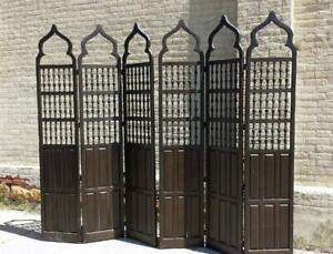 Gothic Jacobean Style Vtg Floor Screen Room Divider 6 Panels Cabinet Furniture