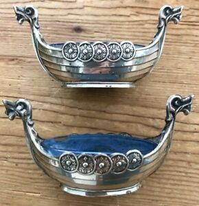 Vintage Pair Norge Salts 830 Silver Boats With Original Blue Glass Liners Viking