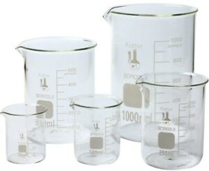 Chemistry Lab Beakers Set Of 5 Borosilicate Glass Heavy Duty Karter Scientific