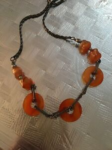 Vtg Art Deco Chinese Export Asian Carnelian Disk Bead Sterling Silver Necklace