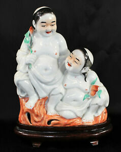 Chinese Porcelain Figural Group Of The Immortals Hehe Erxian Or Laughing Twins
