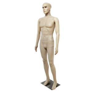 Male Full Body Realistic Mannequin Display Head Turns Dress Form Base 185