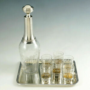 Antique French Sterling Silver Liquor Service Decanter Shot Glasses Tray Box Set