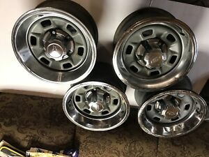 Set Of 4 Chevrolet 14 Inch Rally Wheels With Center Caps And Beauty Ring