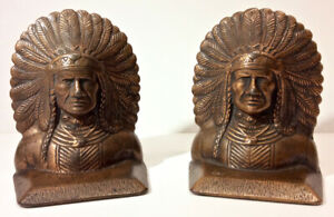 Antique Native American Indian Chief Bookends Cast Iron Copper Clad C 1920s