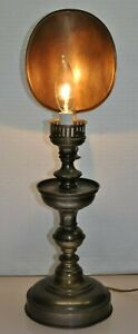 Rare Antique Electric Candle Design Brass Desk Table Lamp With Refelctor Italy