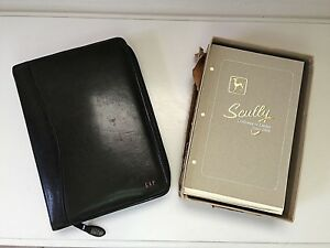 Vintage Scully Black Leather Zip Binder Day Planner Agenda Organizer New Refills