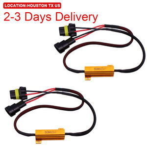 Us Location 2pcs 9006 Led Load Resistor Harness Decoder 50w Drl Headlight Canbus