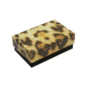 Gift Boxes Jewelry Leopard Print Cotton Filled Batting Cardboard Box 10 Pc