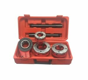 Ratchet Pipe Threader Kit Set With 3 Dies 1 1 4 To 2 Inch And Storage Case